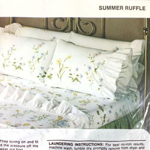 Springmaid Wondercale percale 2 standard pillowcases Summer ruffle NOS bb
