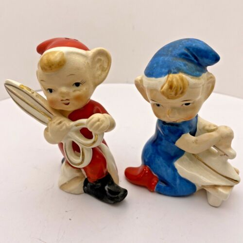 """Vintage Sewing Pixie Elf Salt & Pepper Shakers Made by GNCO Products Japan 3.75"""""""