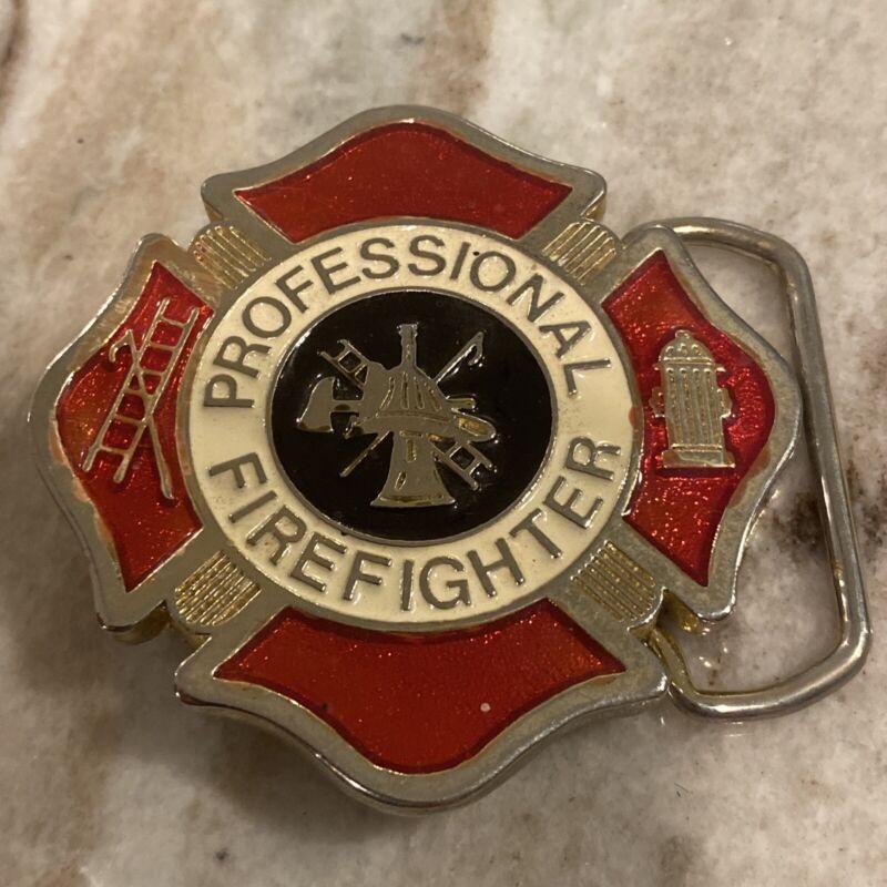 Vintage Professional FireFighter Enameled Belt Buckle Firemen