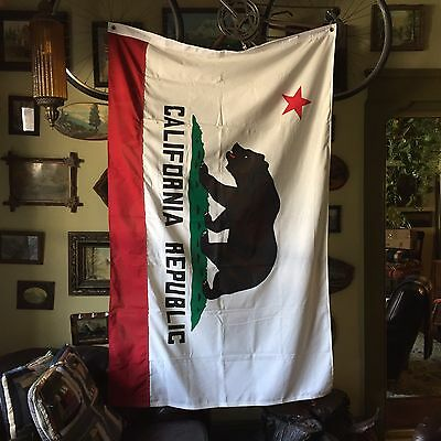 VINTAGE Cotton 4x6 California Republic USA State Bear Flag Pennant Banner Old