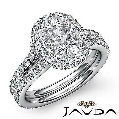 V Shaped Shank Halo Cushion Diamond Engagement Pave Set Ring GIA I VS2 2.32 Ct