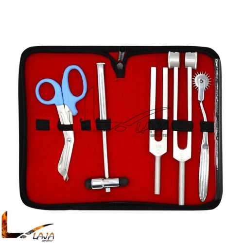6 Piece Diagnostic Kit Medic Student - Reflex Hammer and Tuning Fork Set C 128