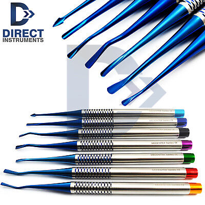 7pcs Blue Titanium Coated Luxating Pdl Root Elevator Proximators Implant Surgery