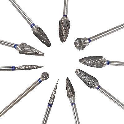 10 Dental Lab Polishing Bur Drills Tungsten Steel Carbide Burs Burrs 2.35mm Tips