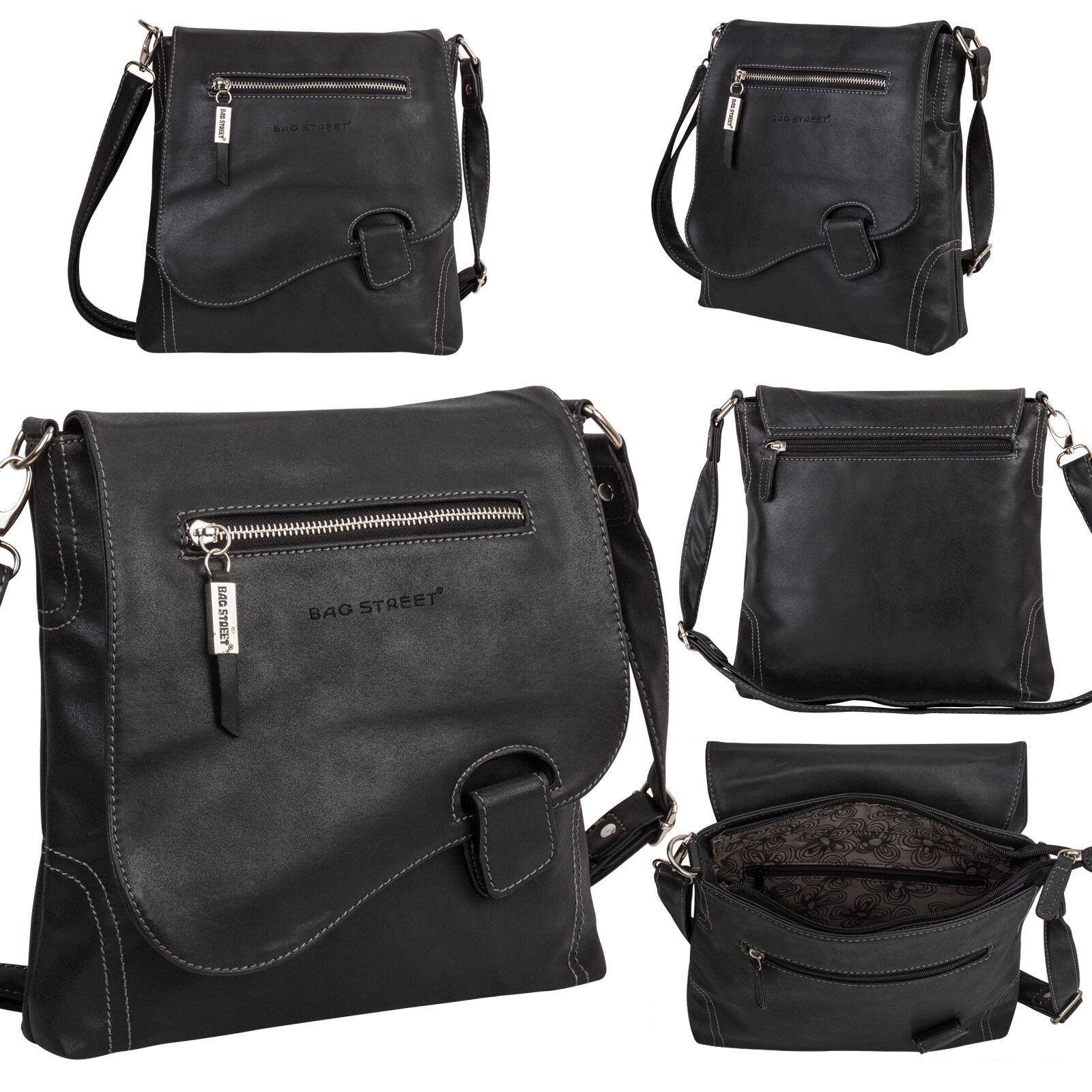 Bag Street Damentasche Umhängetasche Handtasche Schultertasche K2 T0104 Schwarz