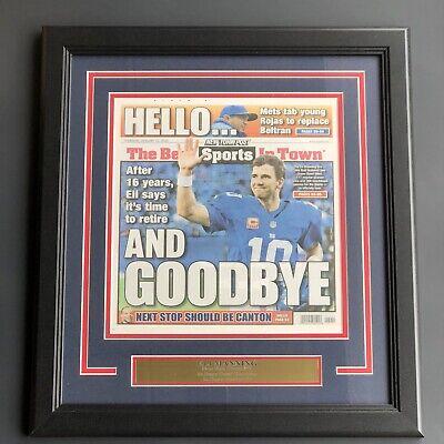 Eli Manning Giants 2019 New York Post Retirement Framed Newspaper -