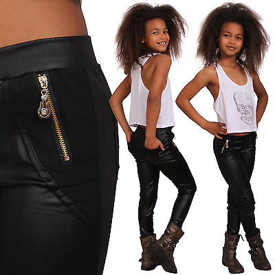 Kinder Leggins Hose Leder Look Leggings Jeggings Teenager Treggings Mädchen Gold ()