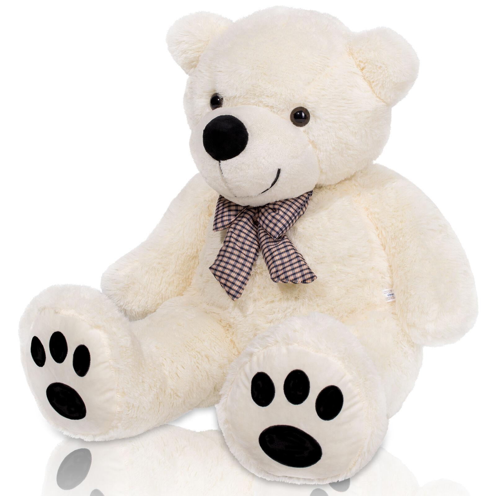 Teddybär XXL 140 cm Weiß Plüschtier Kuscheltier Stofftier Teddy Plüschbär Stoff
