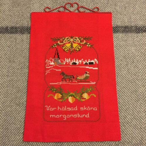 Vintage Swedish Christmas Red Embroidered Wall Hanging Horse Sleigh Handicraft