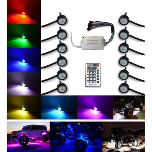 Multi-Color Changing LED Shift RGB SMD Rock Light Set of 12 For Jeep Truck SUV