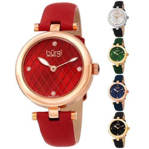 Women's Burgi BUR196 Diamond Markers Argyle Pattern Dial Leather Strap Watch