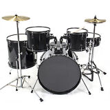 Drum Set 5 PC Complete Adult Set Cymbals Full Size Black New Drum Set