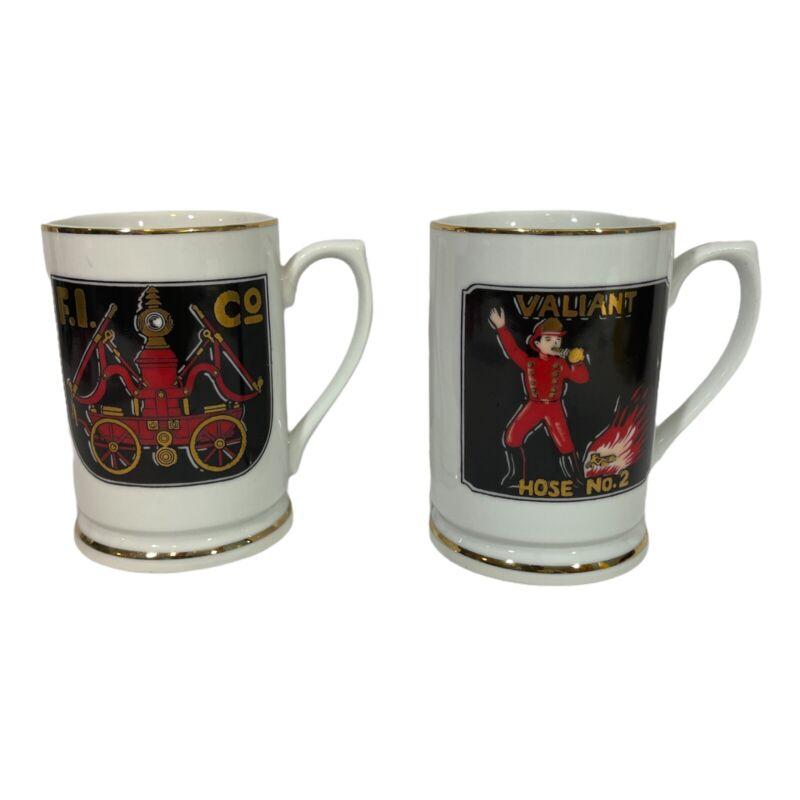 Set Of Price Imports Vintage Valiant Hose No. 2 Coffee Mug Firefighter Fireman