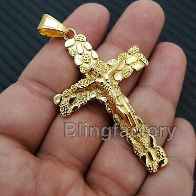 Hip Hop Stainless steel Golden Nugget Christian Jesus Cross Charm -