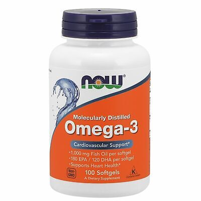 Now Foods Omega 3 Fish Oil 180 EPA/120 DHA 1000 mg, 100 Softgels HEART, BRAIN