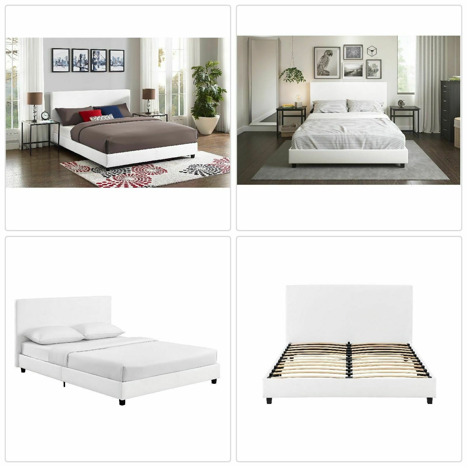 Details About Mainstays Upholstered Bed Full White Faux Leather New