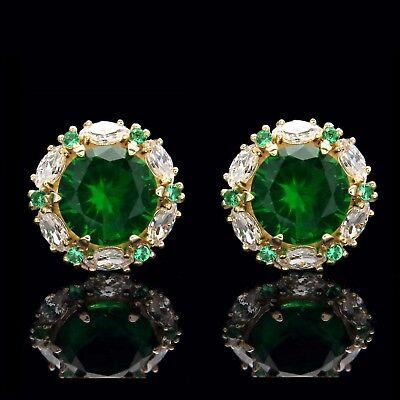 14k Emerald Stud (2.00CT Green Emerald Halo Marquise Created Diamond Stud Earrings 14k Yellow)