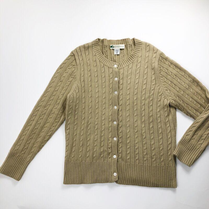 Girl Scouts Women's Size Large Cardigan Beige Vintage Sweater