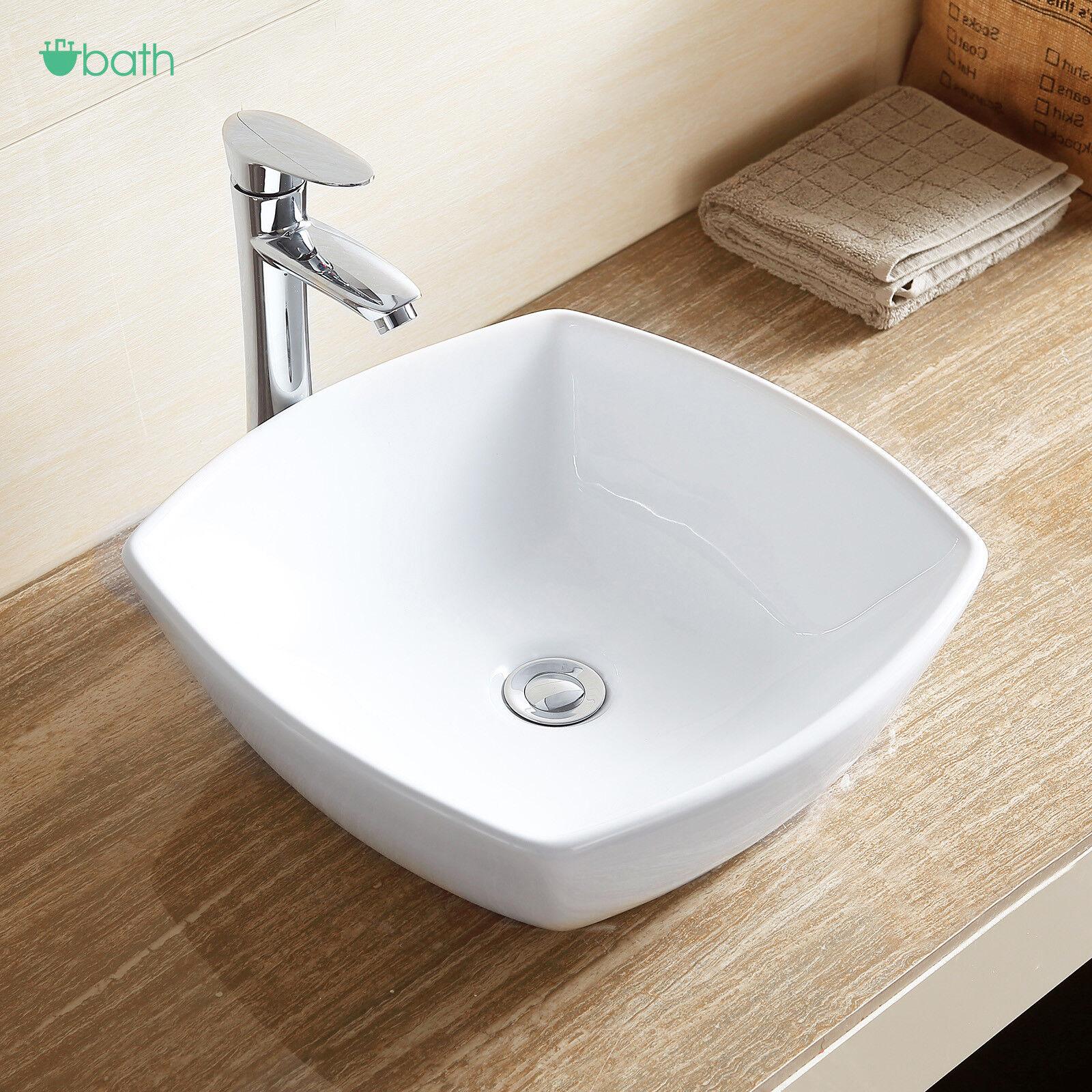 Bathroom White Ceramic Sink Porcelain Vessel Vanity Bowl Basin Pop Up Drain