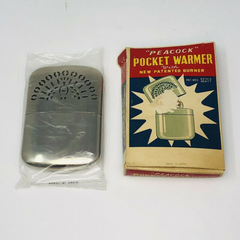 Vintage Peacock Pocket Hand Warmer Japan New In Box Instruction Standard Size