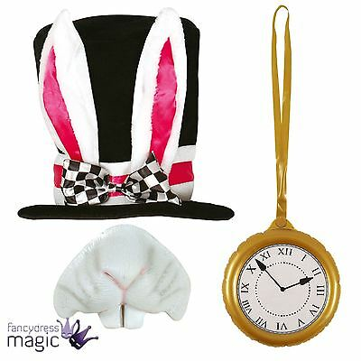 Black Top Hat White Rabbit Alice Mad Hatter Fancy Dress Outfit Kit Accessory - White Rabbit Top Hat