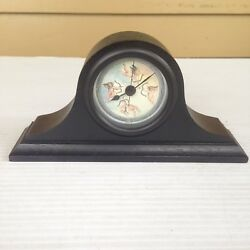 Vintage Angel Cherub Small Mantel Desk Shelf Clock Wood Quartz England & USA