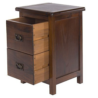 2 Drawer Bedside Cabinet Table Dark Wood Baltia Solid Wood Bedroom Furniture  sc 1 st  eBay & 2 Drawer Bedside Cabinet Table Dark Wood Baltia Solid Wood Bedroom ...