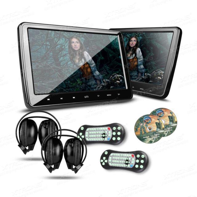"2 Pcs 10.1"" Car Digital Touch Button Headrest Monitor DVD Player HDMI Headphones"
