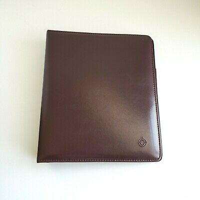 Franklin Covey Classic Burgundy Brown Faux Leather Open Binder Planner 7 Ring
