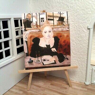 Miniature Dollhouse Shadow Box Wall Art French Cafe Woman Writer Handmade -