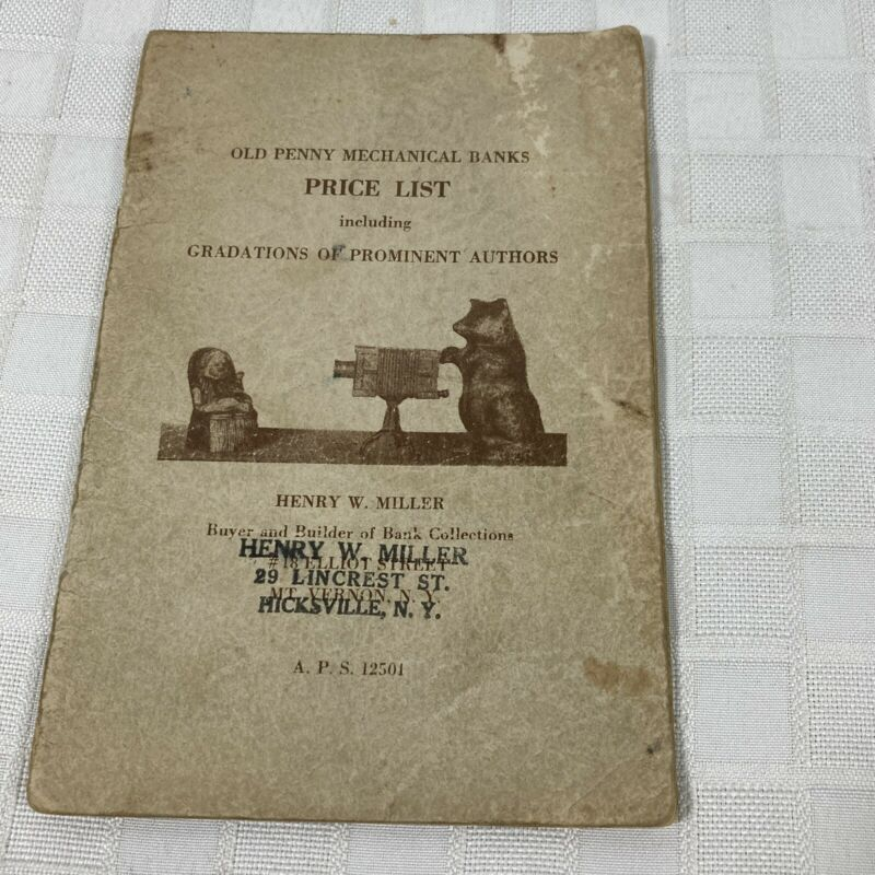 Old Penny Mechanical Banks Price List Henry W. Miller Vintage