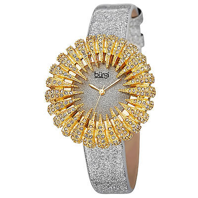 Women's Burgi BUR112YGW Dazzling Crystal Quartz Yellow Gold Silver Strap Watch