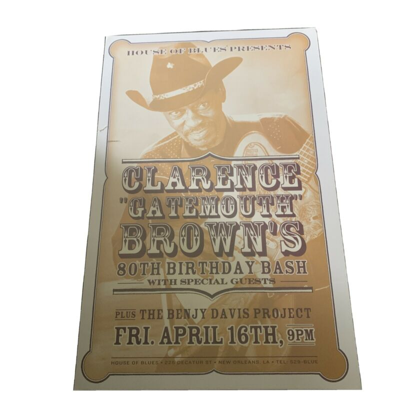 Rare Original 2005 Clarence Gatemouth Brown Poster House Of Blues 80th Birthday