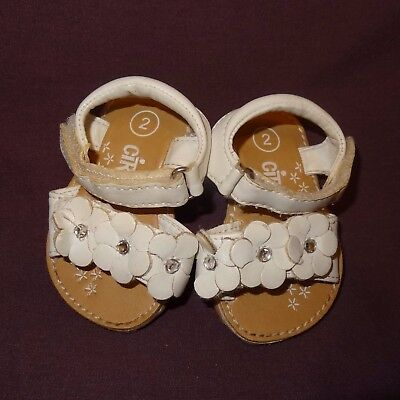 Sandals Shoes White Size 2 or 6 - 9 Months Baby Girls Circo Flowers 2009 Target