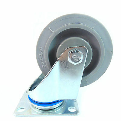 Swivel Plate Caster With 4 Non Marking Soft Gray Rubber Tpr Wheel-ctpr4ss