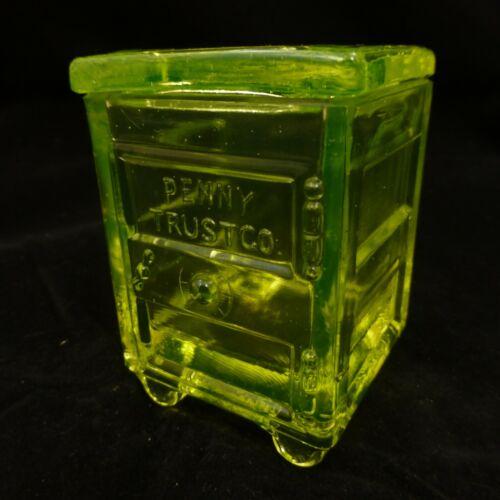 """PENNY TRUST CO""  SAFE w/ Lid Westmoreland YELLOW VASELINE Uranium Glass Summit"