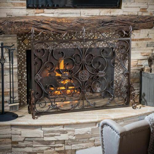 Darcie Copper Brown Finish Wrought Iron Fireplace Screen Fireplace Screens & Doors