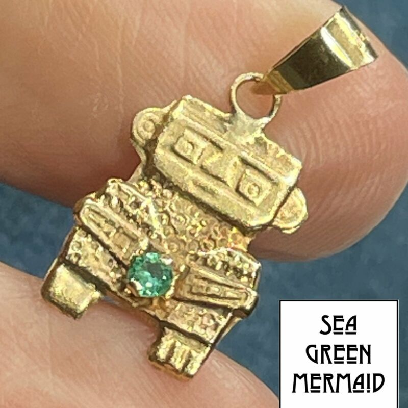 18k Yellow Gold Columbian Emerald Incan Human Figure Pendant. SMALL