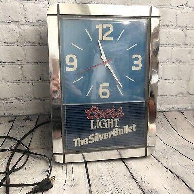 Vtg COORS LIGHT SILVER BULLET ILLUMINATED CLOCK BEER SIGN MAN CAVE BAR Not Work