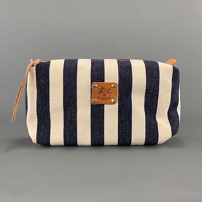 IL BISONTE Navy & Cream Striped Canvas Tan Leather Zip Case Pouch