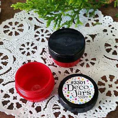 12 Cute Mini RED JARS .25oz Black Cap wax Container balm RX stash wax 1/4oz USA  - Cute Jars
