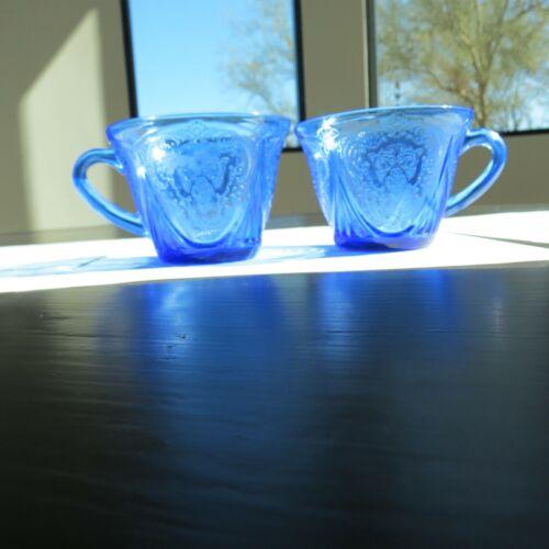 Hazel Atlas Cobalt Blue Royal Lace Cups - 2