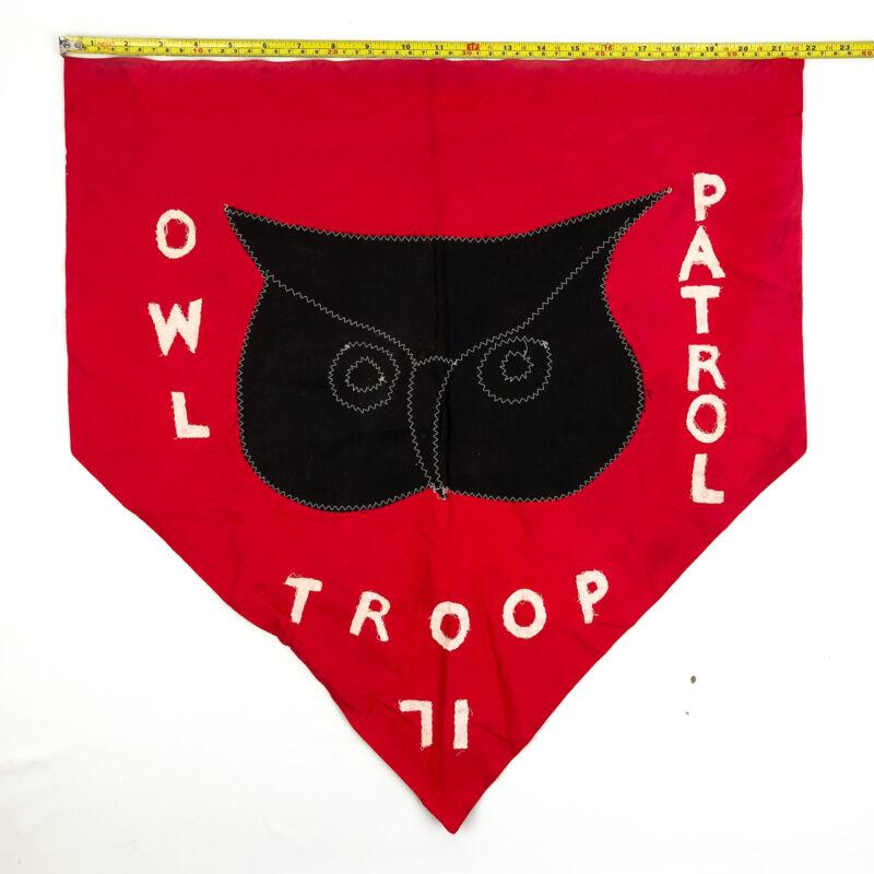 Vintage Boy Scouts of America Owl Patrol Flag Troop 71 Red