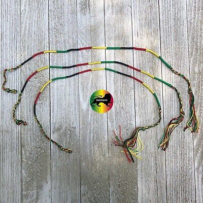 Lot Of 3 Rasta String Bracelet Anklet Tie Cool Runnings Peace One Love 20