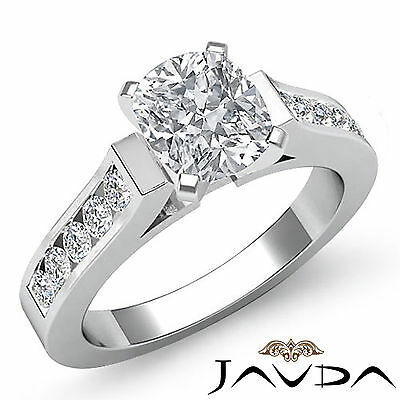 Fine Cushion Diamond Channel Set Engagement Ring GIA F VS2 14k White Gold 1.5 ct