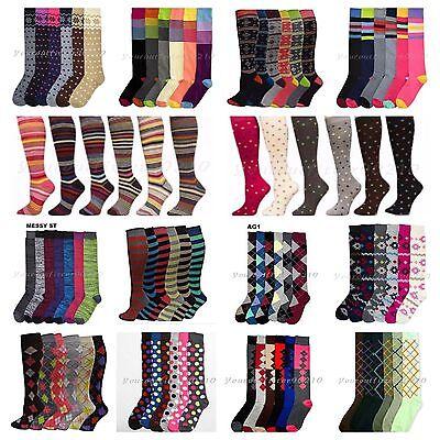 12 Pairs Lot Women Lady Girl Design Knee High Socks Casual Multi Pattern 9-11