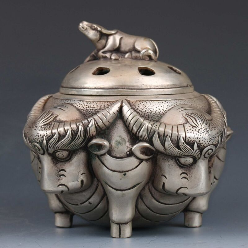 Collectible Chinese Miao Silver Hand-carved Cattle Incense Burner Ming XuanDe