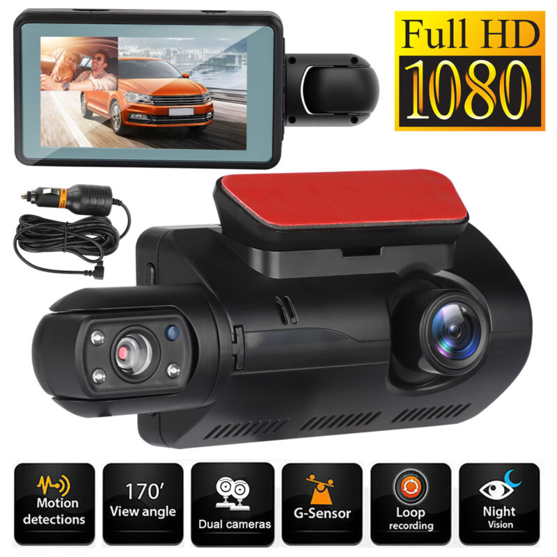 "3"" Dual Lens Dash Cam 1080P Car DVR Video Recorder Camera G-Sensor Night Vision"