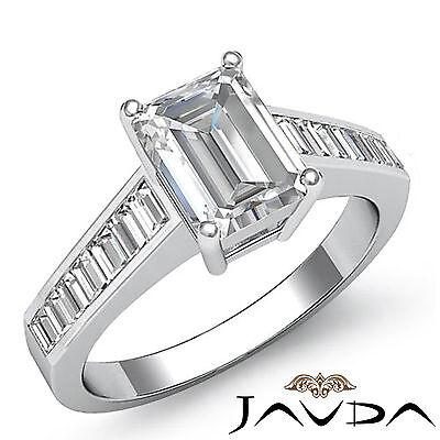 Emerald Diamond Baguette Channel Set Engagement Ring GIA F VS2 Platinum 1.85 ct