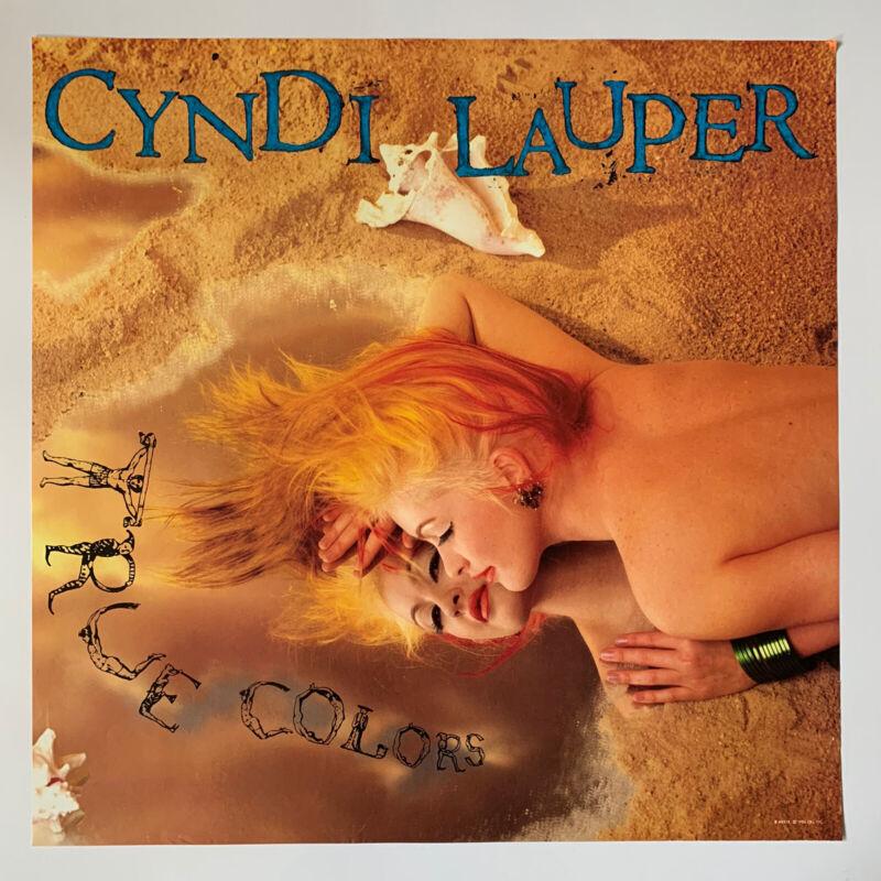 """Original 1986 Cyndi Lauper True Colors Promotional Rock Poster 23"""" x 23"""" EX 80"""